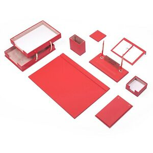 Leather Desk Set 10 Pieces With Double Document Tray Desk Organizer Red