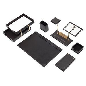 Leather Desk Set 10 Pieces With Double Document Tray Desk Organizer Black