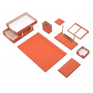 Leather Desk Set 10 Pieces With Double Document Tray Desk Organizer Orange