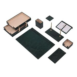 Leather Desk Set 10 Pieces With Double Document Tray Desk Organizer Green