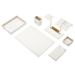 Leather Desk Set 10 Pieces With Single Document Tray Desk Organizer White
