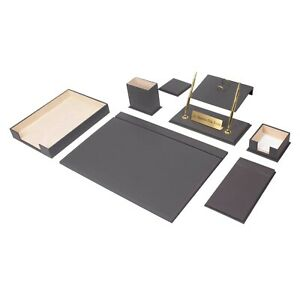 Leather Desk Set 10 Pieces With Single Document Tray Desk Organizer Gray