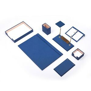 Leather Desk Set 10 Pieces With Single Document Tray Desk Organizer Blue