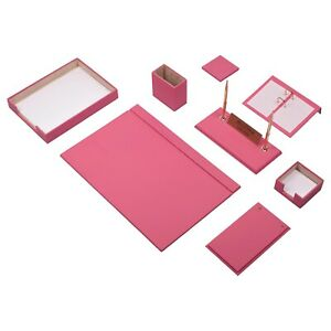 Leather Desk Set 10 Pieces With Single Document Tray Desk Organizer Pink