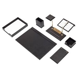 Leather Desk Set 10 Pieces With Single Document Tray Desk Organizer Black