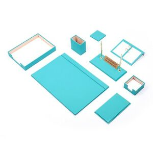 Leather Desk Set 10 Pieces With Single Document Tray Desk Organizer Turquoise