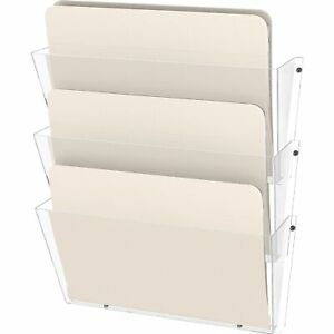 Deflecto Unbreakable Wall File Set Letter Three Pocket Clear