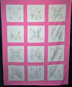 Vintage Floral Embroidered Quilt 1940 S Hand Sewn And Quilted 83 X 64