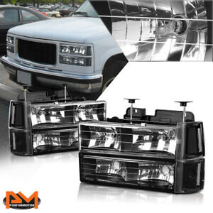 For 94 00 Gmc C k Suburban Gmt400 Bumper Headlight Black Housing Clear Corner