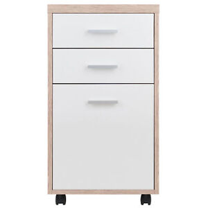 Home Office File Cabinet Filing Folder Wooden Storage Two tone Finish Furniture
