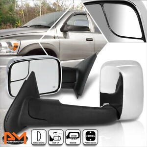For 02 09 Dodge Ram 1500 2500 3500 Powered Heated Chrome Side Towing Mirror Pair