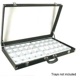Black Glass Top Travel Jewelry Display Carrying Case 31 3 4 X 18 1 2
