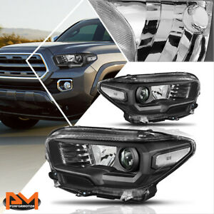 For 16 20 Tacoma Projector Headlight Lamps Replacement Black Housing Clear Side