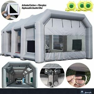 Inflatable Spray Paint Booth 750w 2x950w Ul Blowers Portable Car Tent 39x16 5x13