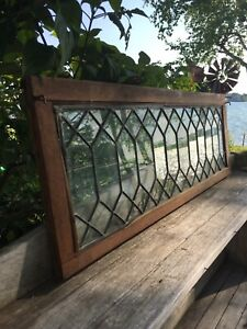Antique Leaded Glass Door For Oak Barrister Bookcase 32