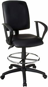 Boss Office Multi Function Leather Drafting Chair W Loop Arms Swivel Ergonomic