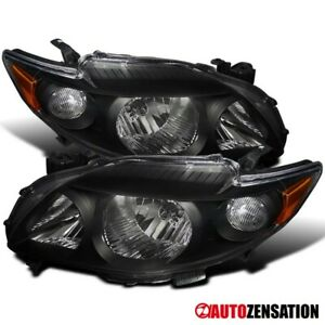 For 2009 2010 Toyota Corolla Pair Black Headlights Head Lamps amber