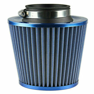 Universal Blue Finish Car Air Filter Induction Kit Sports Mesh Cone 75mm 3inch