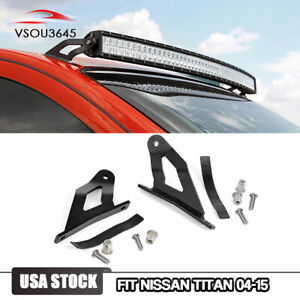 50 Led Light Bar Steel Windshield Roof Mounting Brackets For Nissan Titan 04 15