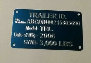 Engraved Blue Trailer Id Data Plate Tag Vin Plate