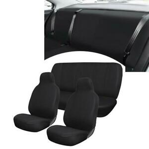 Black Flat Fabric 4pcs Car Seat Covers Universal Bench Cover low Back Seat Cover