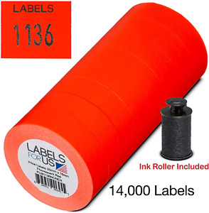 Labels For Monarch 1136 Labeler Fluorescent Red 14 000 Labels Pack With 8