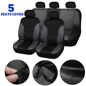 Universal Car Seat Covers Set Front Rear Cover Breathable Pu Leather Protector
