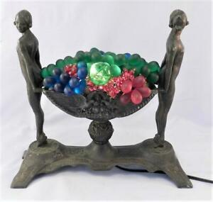 Antique Vintage Art Deco Table Lamp Light Nude Women Czech Glass Fruit Bowl