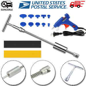 Us T Bar Slide Hammer Car Paintless Dent Repair Tools Kit Glue Puller Tabs