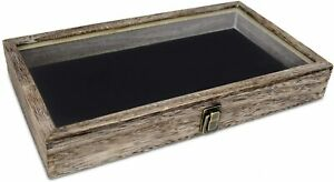 Mooca Wooden Jewelry Display Case With Tempered Glass Top Lid Coffee Color