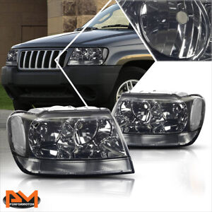 For 99 04 Jeep Grand Cherokee Wj Smoked Housing Headlight Clear Side Corner Lamp