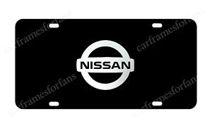 Nissan Black Licens Plate With Chrome Logo