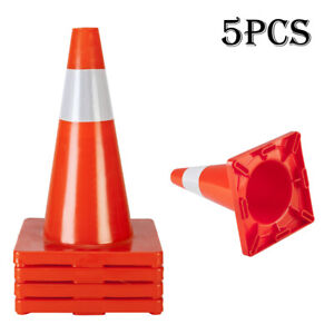 5pcs Traffic Cones 18 Orange Slim Fluorescent Reflective Road Safety Cones Ha