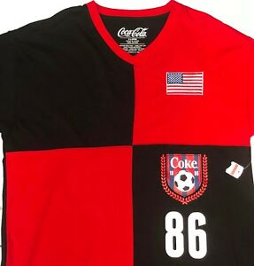 New Coca-Cola Shirt Mens XL Soccer American Flag Coke Pull Over Cotton NWT