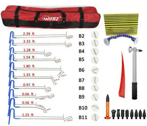 24x Upgraded Set B Dent Repair Removal Tools Paintless Auto Body Rods Hook Kit