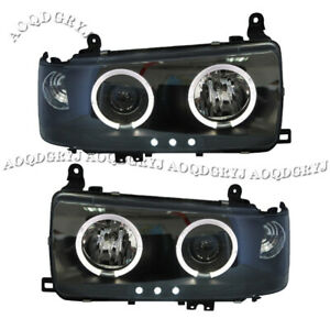 For Toyota Land Cruiser Lc Fj80 91 97smoked Black Angel Eyes One Piece Headlight