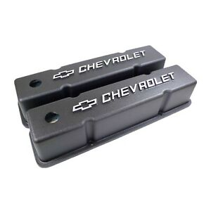 Sb Chevy Tall Black Cast Aluminum Valve Covers W Chevrolet Bowtie Logo