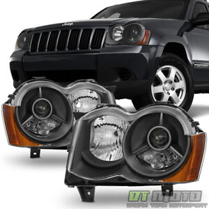 Black 2008 2010 Jeep Grand Cherokee Projector Headlights 08 10 Halogen Fit Only