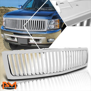 For 07 13 Chevy Silverado 1500 Vertical Fence Style Front Bumper Grille Chrome