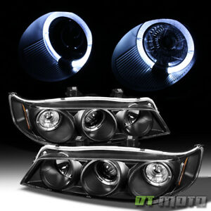 For 1994 1997 Honda Accord Led Halo Black Projector Headlights W Corner Lights