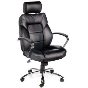 Onespace Office Chair 22 In Wide Seating Area Adjustable Headrest Leather Black