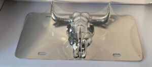 3d Chrome Buck Dodge Ram Front Mirror Stainless Steel License Plate New Cond