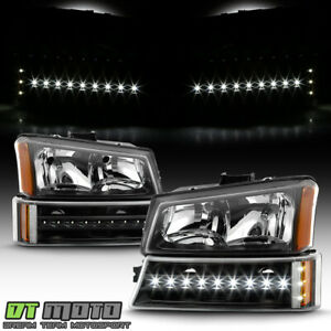 2003 2006 Chevy Silverado 1500 2500 3500 Headlights led Bumper Signal Lights Set