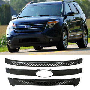 For 2011 2015 Ford Explorer Base Xlt Front Grill Grille Cover Trim Gloss Black