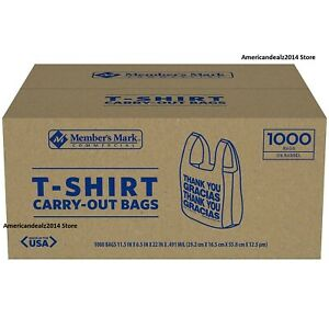 Member s Mark T shirt Carry out Bags 1 000 Ct Grocery Stores Convenience Kitchen
