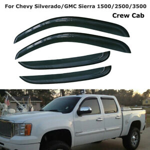 4pcs Window Visors Rain Guard For Chevy Silverado 1500 2500 Crew Cab 07 2013