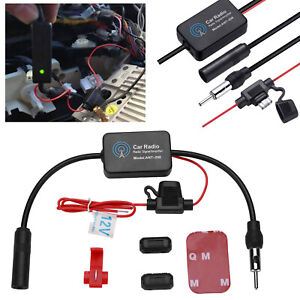 Car Stereo Fm Am Radio Signal Antenna Aerial Signal Amp Amplifier Booster Inline