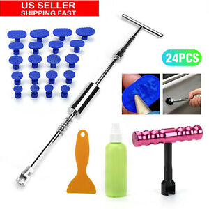 24 Pcs Car Body Paintless Dent Removal Hail Tools Slide Hammer T Bar Puller Tabs