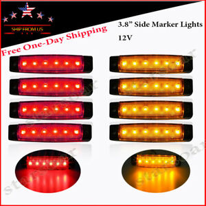 8x Red Amber Led Marker Lights Truck Trailer Bar Side Clearance Light