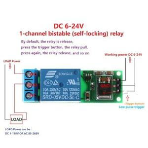 6 24v Flip flop Latch Relay Bistable Self locking Low Pulse Trigger Module